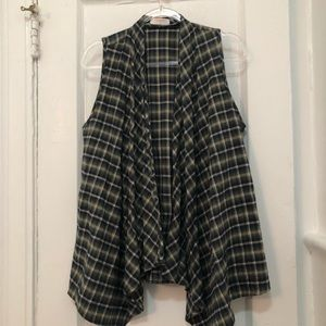 Renee C. Long Drape Flannel vest- L